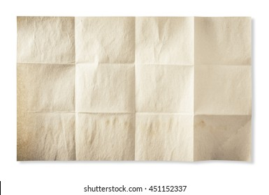 old paper texture have many square fold, with clipping path for background