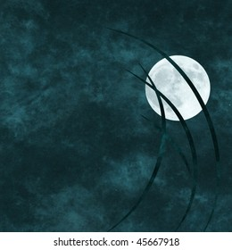 old paper textured background with abstract grass and full moon
