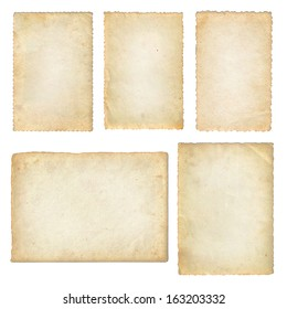 Old papers set isolated on white background with clipping path. Various old paper sheets