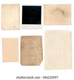 Old papers set isolated on white background with clipping path. Set of various old paper sheets. Vintage photo and book pages, cards, pieces isolated on white background with clipping path.