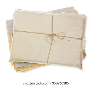 old parcel isolated on white background