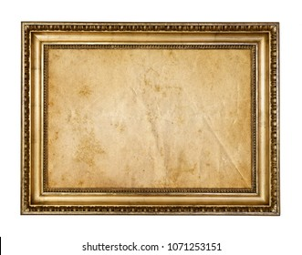 Old parchment paper in vintage rustic wood frame isolated on white background.