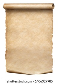 Old parchment scroll isolated on white