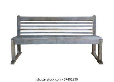 Old park bench isolated on white