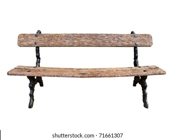 Old park bench isolated on white background with clipping path