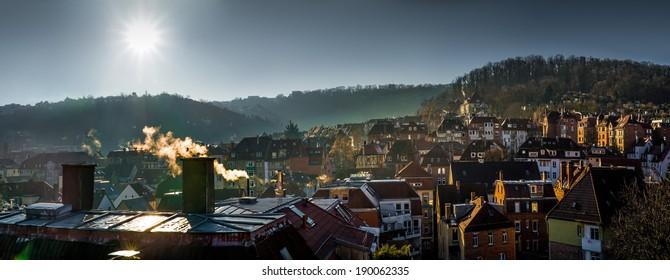old part of Stuttgart, Germany during sunrise