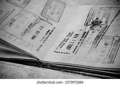 Old passport full of stamps from many countries
