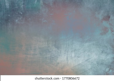 Old pastel colored metallic scraped wall texture or background