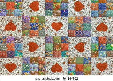 Old Patchwork Quilt Floral Summer Pattern Background With Hearts. Vintage Scrappy Geometric Quilting Texture. Patch Work Colorful Folk Style Design Surface. Sewing Handwork Product Wallpaper.