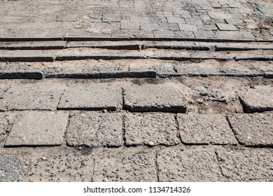 Old Pavement Made by Concrete Elements