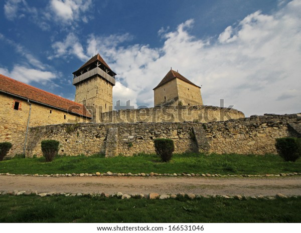 The old peasant's fortress with stone walls in Calnic, Romania