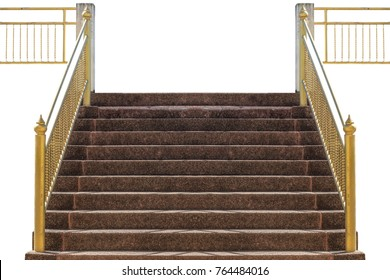 old pebble stairs, hand gripon golden color on white background