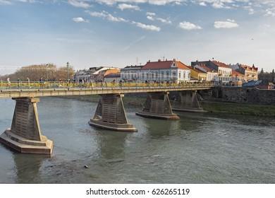 Old pedestrian bridge over Uzh river in Uzhhorod, Ukraine