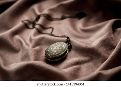 Old pendant locket necklace  isolated