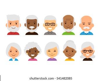Old people cartoon avatars set. Isolated illustration of diverse senior characters.