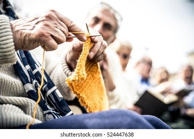 Old people group doing activities in a park
