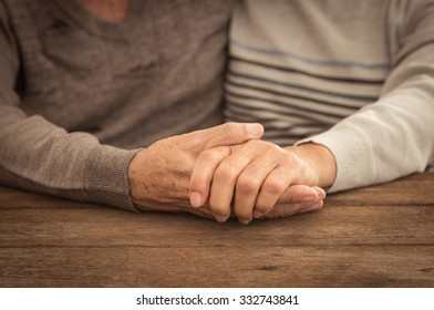 Old people hug and holding hands. couple concept. loving concept. caring concept.