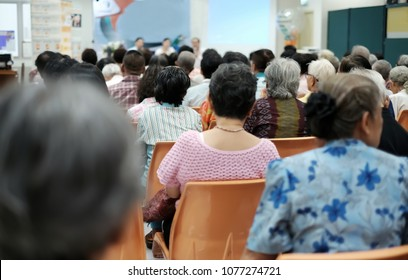 Old people in the seminar event. Many elderly in the conference room. Concept of seniors seminar , health care and medical