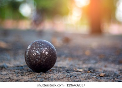 OLD Petanque on blur background.Petanque is a sport that falls into the category of boules sports.