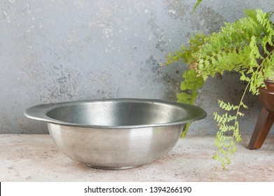 Old pewter bowl and green plant on a concrete background. Copy space for text.