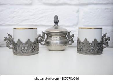 old pewter set for tea. Antique home ware