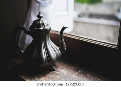 Old pewter teapot