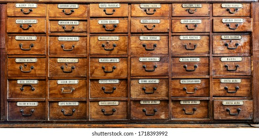 Old pharmacy cabinet with pharmacy medicines in it. Vintage medical, pharmacy and chemistry background.