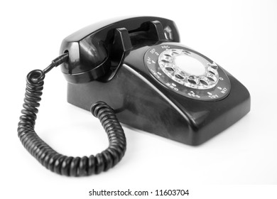 old phone black communication dial