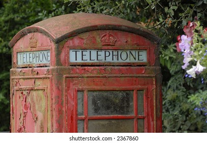 Old phone box with peeling paint