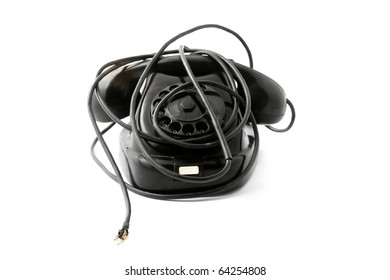 Old phone with broken wire, without connection with outer world