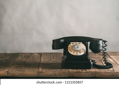 old phone on the wood