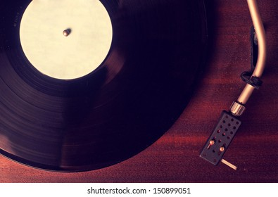 Old phonograph and gramophone records, retouching Vintage