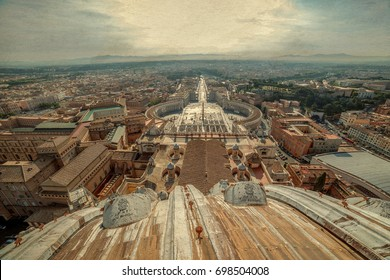 Old photo with aerial view from the cupola of Papal Basilica over St. Peter's Square in the Vatican City. Rome, Italy.