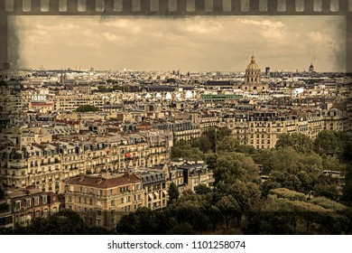Old photo with aerial view from Eiffel tower, with Dome des Invalides ( Les Invalides ) in Paris, France. Border filter applied and vintage processing.