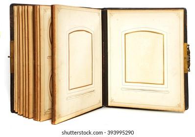 old photo album on white background - Shutterstock ID 393995290