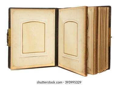 old photo album on white background - Shutterstock ID 393995329