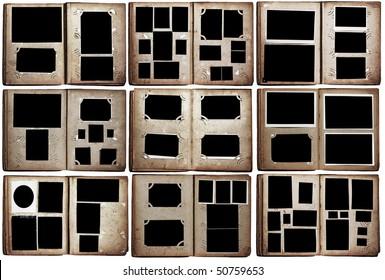 old photo albums set isolated on white background
