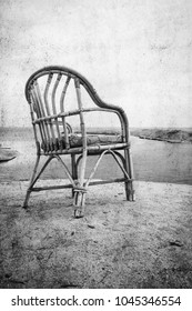Old photo beautiful chair on the sea nature landscape background