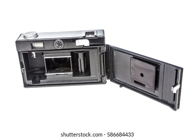 Old photo camera, isolated, open