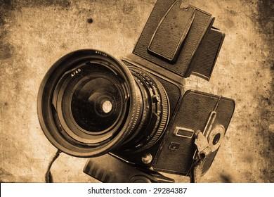 old photo camera in retro design look