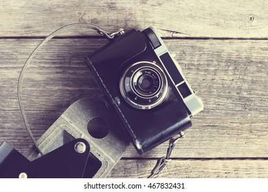 old photo camera; vintage filter effect