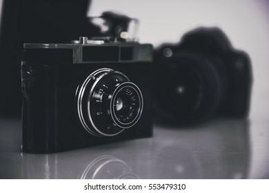 Old photo cameras
