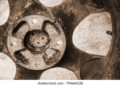 Old photo of car tires and wheels for auto background