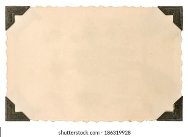 old photo card with corner isolated on white background