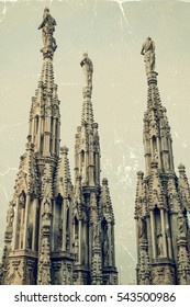 Old photo with the famous spires of Milan Cathedral, Lombardy, Italy. Vintage processing.