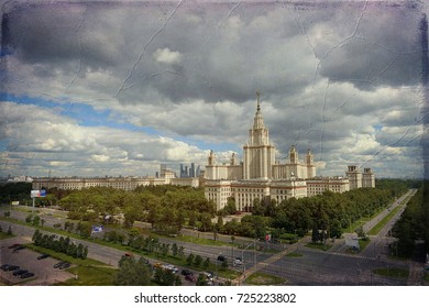 Old photo fashioned postcard picture of wide angle panoramic landscape of dramatic clouds over the sunny summer campus of Lomonosov Moscow State University  in fall