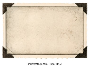 old photo frame with corner and empty field for your picture isolated on white background
