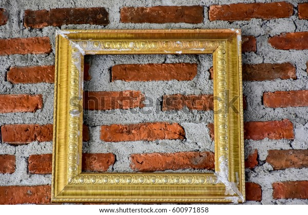 Old photo frame decorate interior cement wall