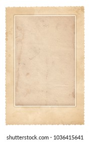 Old photo frame. Vintage paper. Retro card. Isolated on white