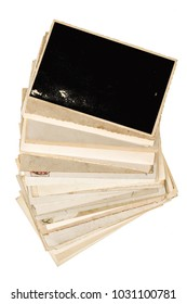 Old photo frames isolated on white background. Used paper sheets